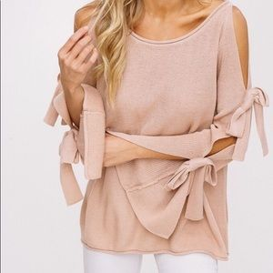 Knit Crochet Pullover Sweater Cold Shoulder Pink